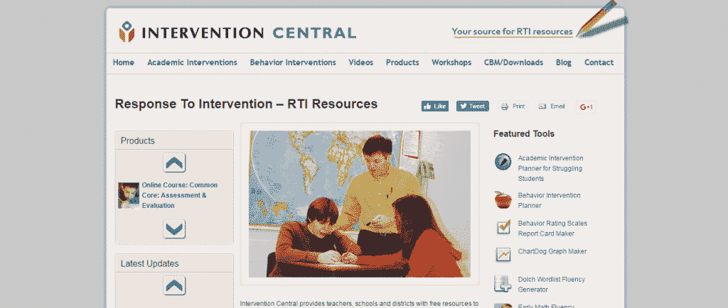 intervention central - top 5 websites for behavior intervention and data tools