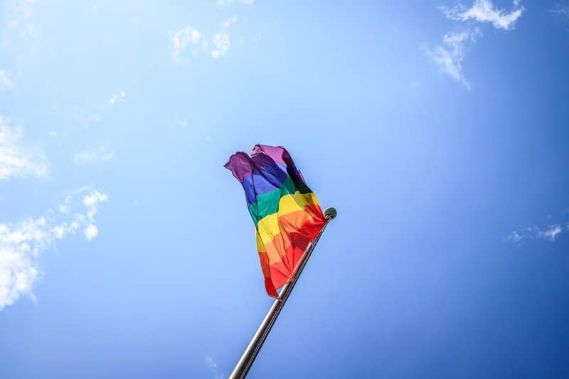 A rainbow flag in Cologne, Germany.